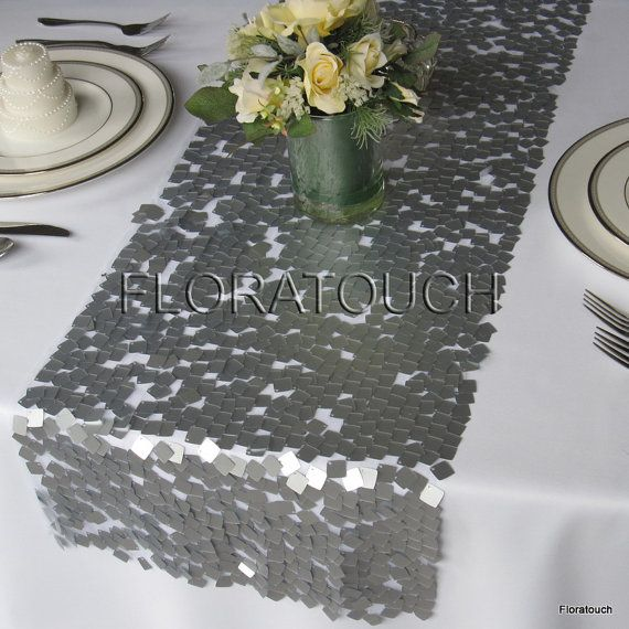 sequin Table Silver wedding runner Square Sequins table Wedding Runner Dazzle