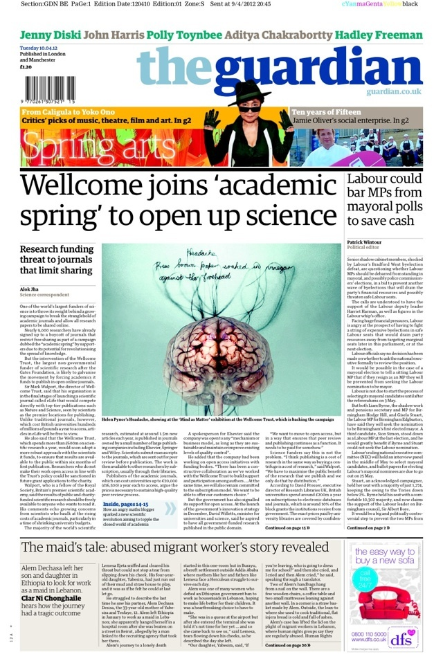 Tuesday 10 April – Wellcome Trust joins 'academic spring' to open up science    www.guardian.co.uk/science/2012/apr/09/wellcome-trust-academic-spring?CMP=SOCNETIMG8759I