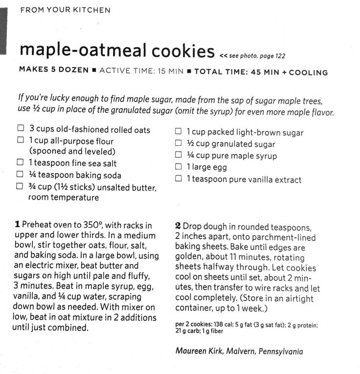 Maple oatmeal cookies   Cookies!   Pinterest