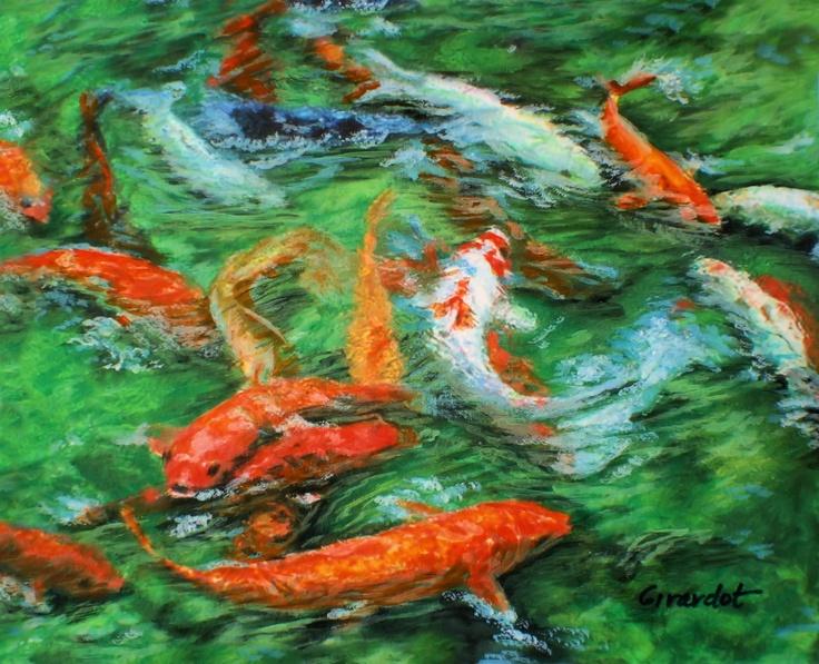 Koi feeding time 8x10 watercolor jane girardot fine art for Koi feeding