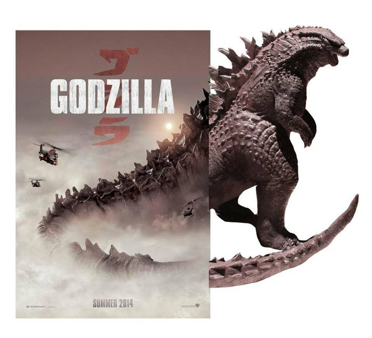 Godzilla 2014 Poster/Sculpture Comparison