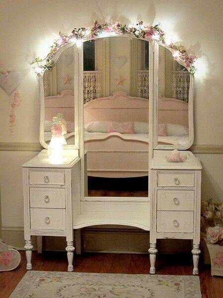 String Lights For Dressing Table : Shabby chic MIRRORS vanity/dresser drawer/wall etc. Pinterest