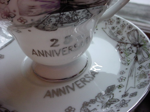 ... Creation 25th Wedding Anniversary Cup & Saucer Japan Vintage Gift Idea