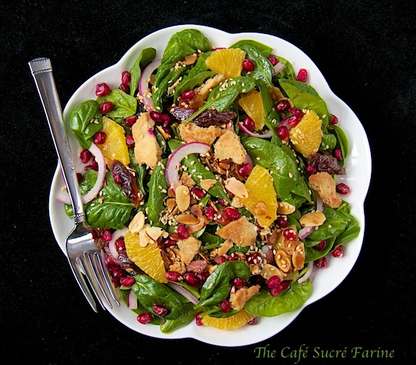 ... Farine: Baby Spinach Salad w/ Dates, Almonds, Oranges & Pomegranate