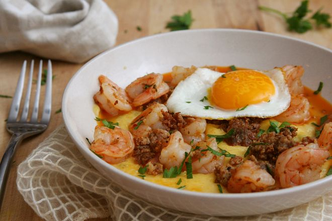 shrimp and andouille over green chile cheese grits