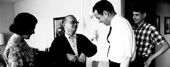 Truman Capote, center, with Harper Lee and Alvin Dewey in 1966