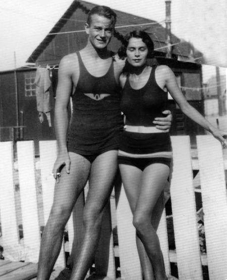 John Wayne and his wife Josephine Saenz, 1932