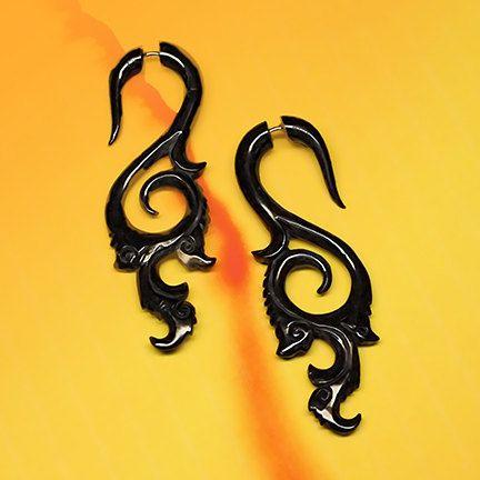 Roxy curls  Fake Gauge Earrings  Organic Horn by PrimalOriginals, $27.00