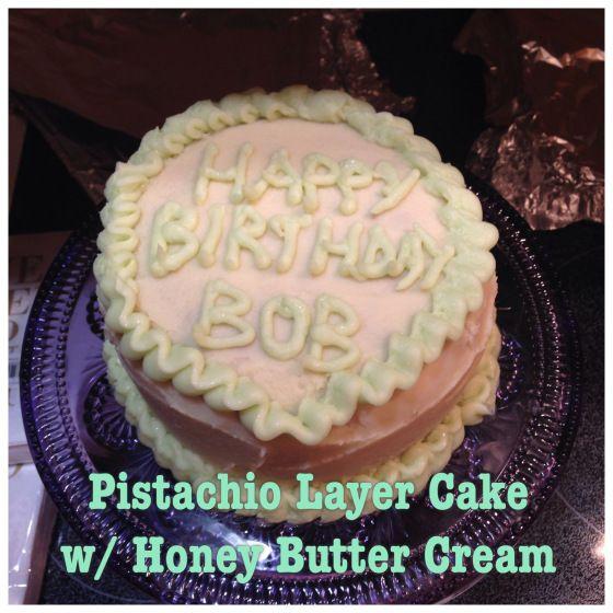 Pistachio Layer Cake Honey Butter Cream #glutenfree