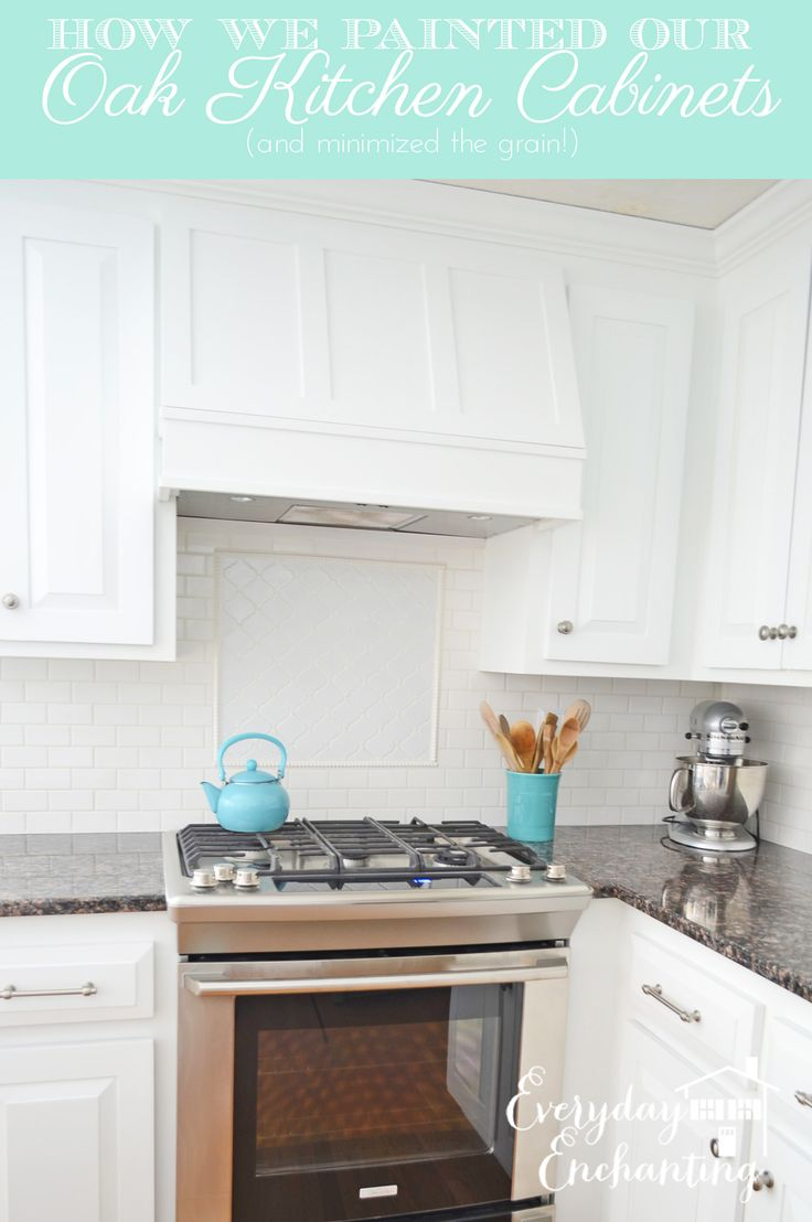 Oak white painted cabinets tutorial for Who paints kitchen cabinets