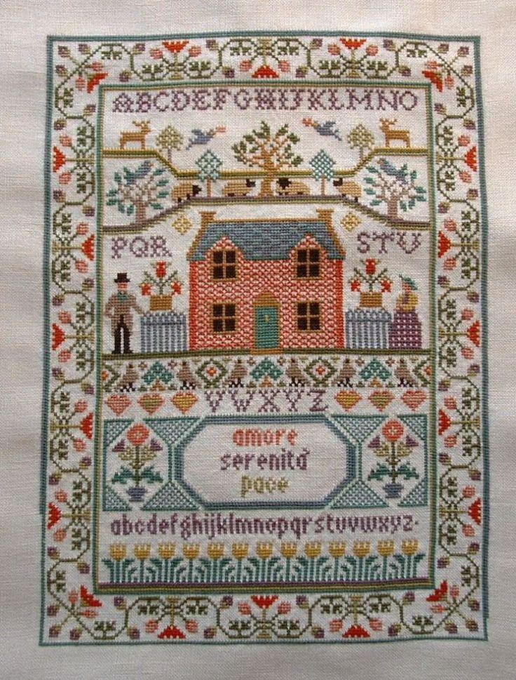 Country cottage sampler stitched samplers pinterest