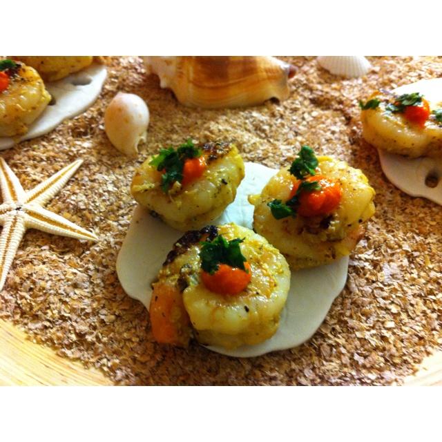 Lemon-Cilantro Shrimp with Romesco | EAT well, LIVE well | Pinterest