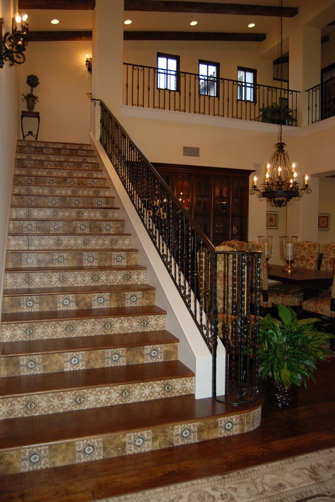 Tile wood staircase for the home pinterest - Stairs with tile and wood ...