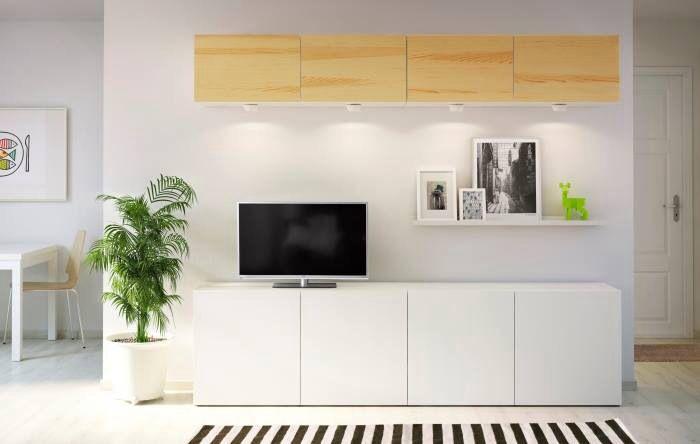 Ikea tv wall units homey living room pinterest - Meuble blanc laque ikea ...