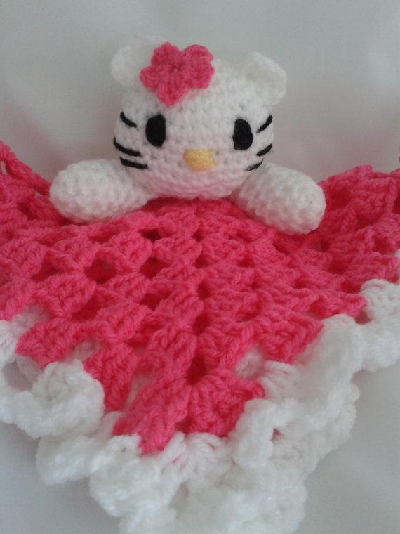 Crochet Pattern For Hello Kitty Baby Blanket : Baby Blankie. Security blanket. Crocheted Hello Kitty ...
