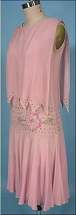 c. 1925 Pink Chiffon and Beaded Flapper Dress with Rhinestones. Pretty over-bodice concept.