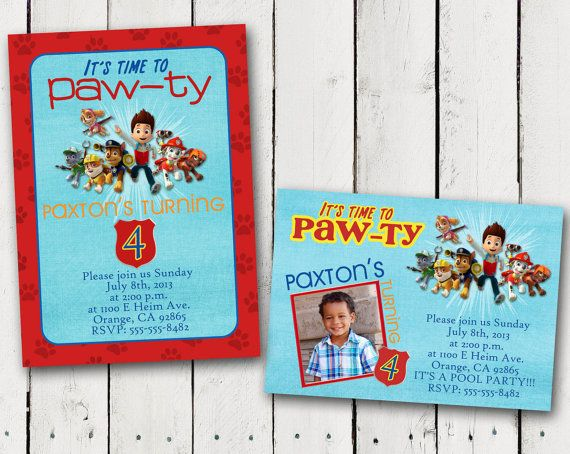 Paw patrol birthday party invitations party invitations for Paw patrol invitation ideas
