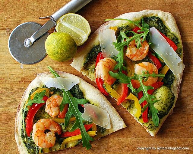 Shrimp Pizza with arugula pesto | food porn | Pinterest