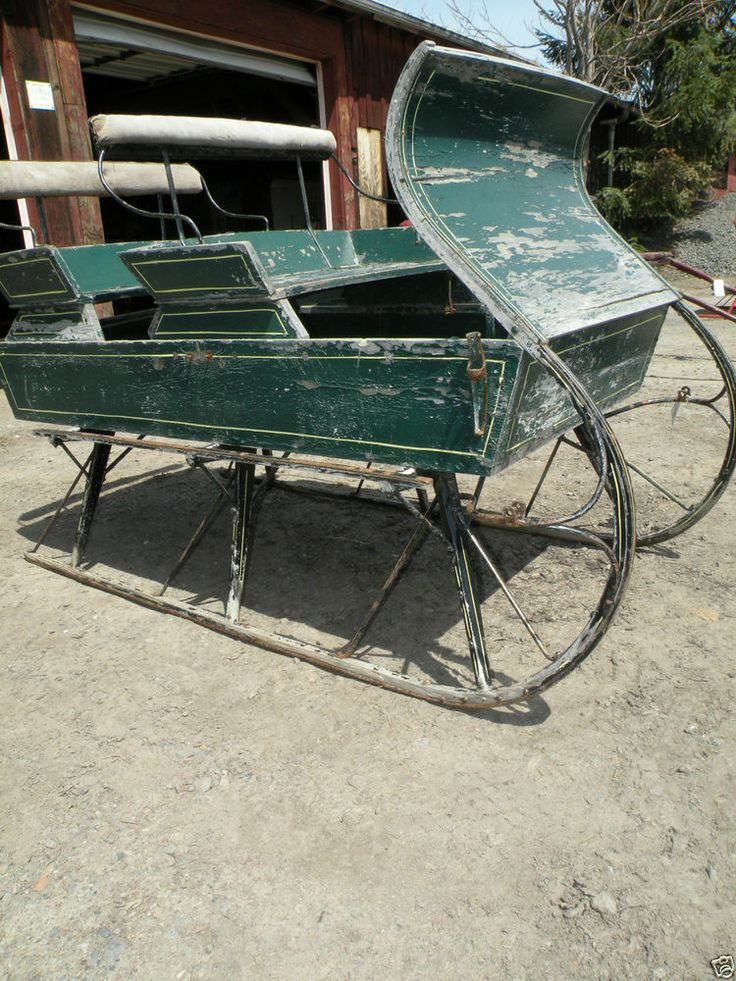 Antique horse drawn 2 seat sled holiday sleigh lawn for Vintage horseshoes for sale