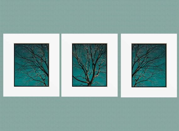 Contemporary tree set teal home decor wall art matted picture for Teal wall art