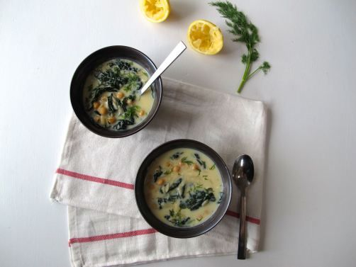Avgolemono (Egg & Lemon) Soup. Greek soup with orzo pasta in a ...