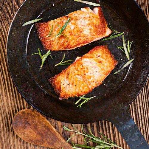 """Cook it Frozen"""" seared alaskan salmon"""