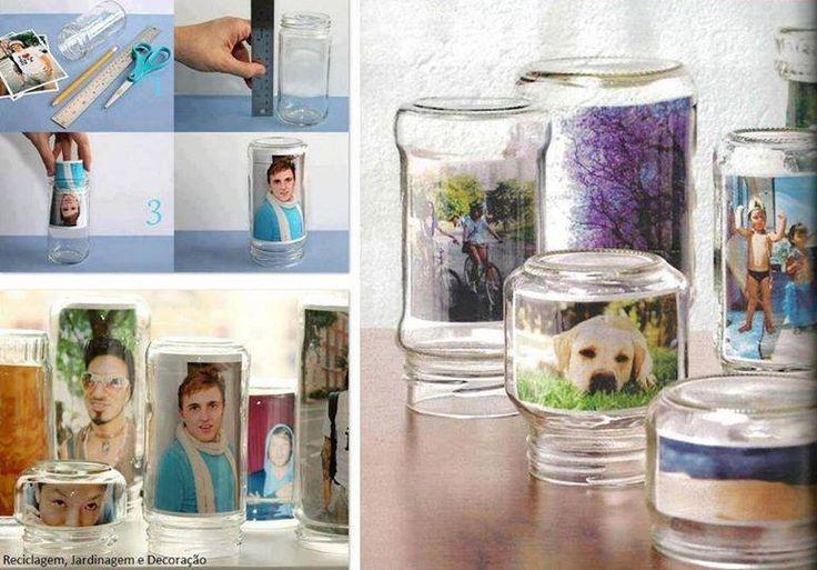 Frascos de vidrio reciclados y convertidos en portaretratos