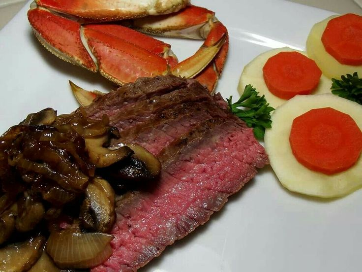 Dungeness crab, ribeye with balsamic caramelized onions and mushrooms ...