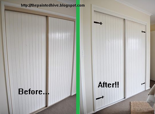 Diy closet door makover by http thepaintedhive blogspot com diy