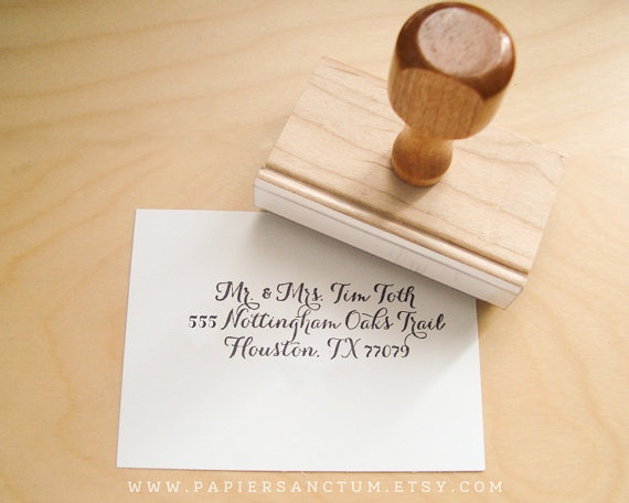 custom rubber stamp wedding return address or favor stamp