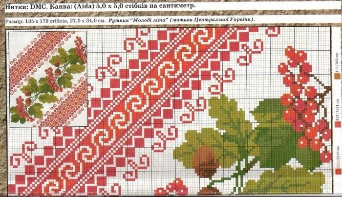 Схема вышивки калина рушник