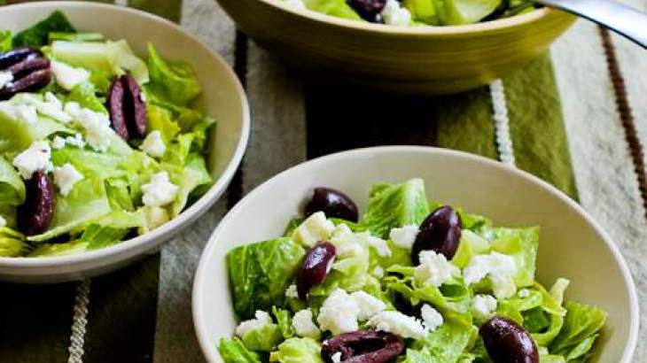 Mediterranean Salad with Hummus Dressing, Olives, Capers, and Feta