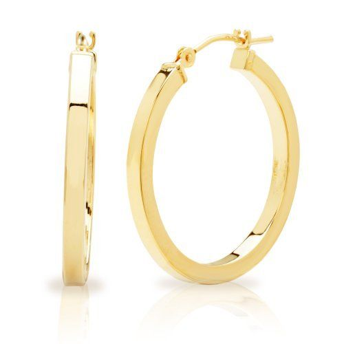 Duragold 14k yellow gold square tube hoop earrings amazon curated