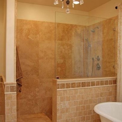 Love the 1 2 wall no door shower for the home pinterest for Bathroom ideas no tiles