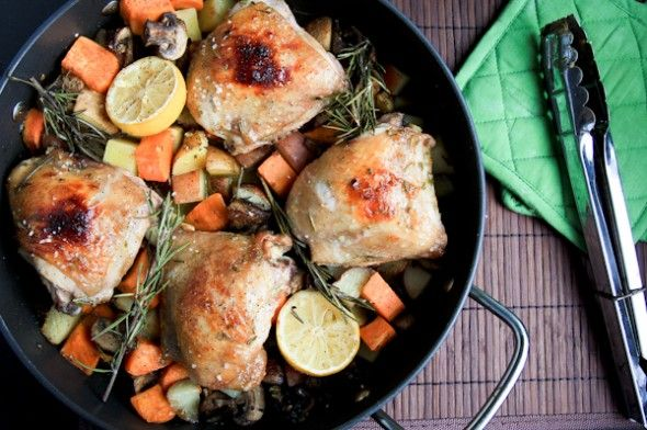 Rosemary Citrus Chicken with Fall Veggies. Looks easy and delicious.