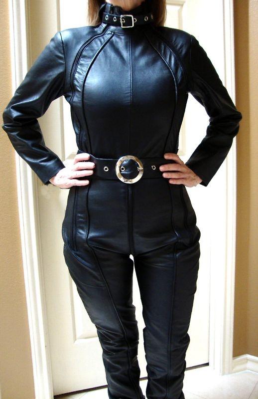 BLACK LEATHER Avenger Catsuit Jumpsuit Womens M 6 8