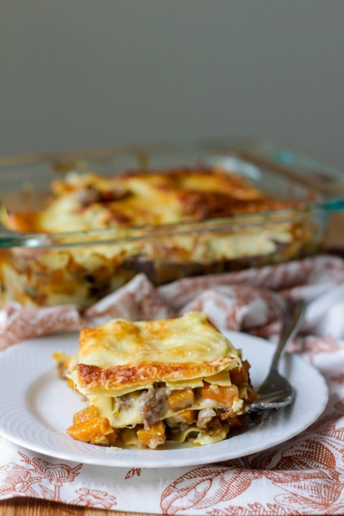 Roasted Butternut Squash Lasagna without the sausage:)
