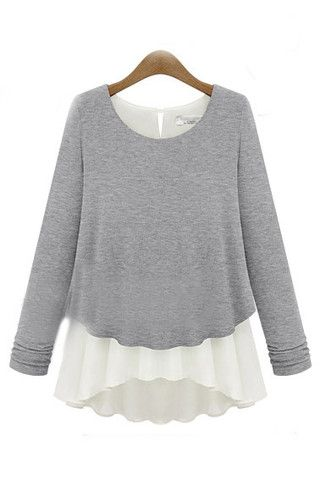 Grey Mock Layer Sheer Drape Chiffon Sweater Blouse | Goodnight Macaroon