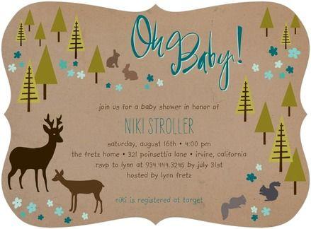 Forest Dwellers - Baby Shower Invitations - Tallu-lah - Wave Blue #babyshower
