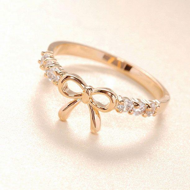 Cute Gold Rhinestone Bow Ring