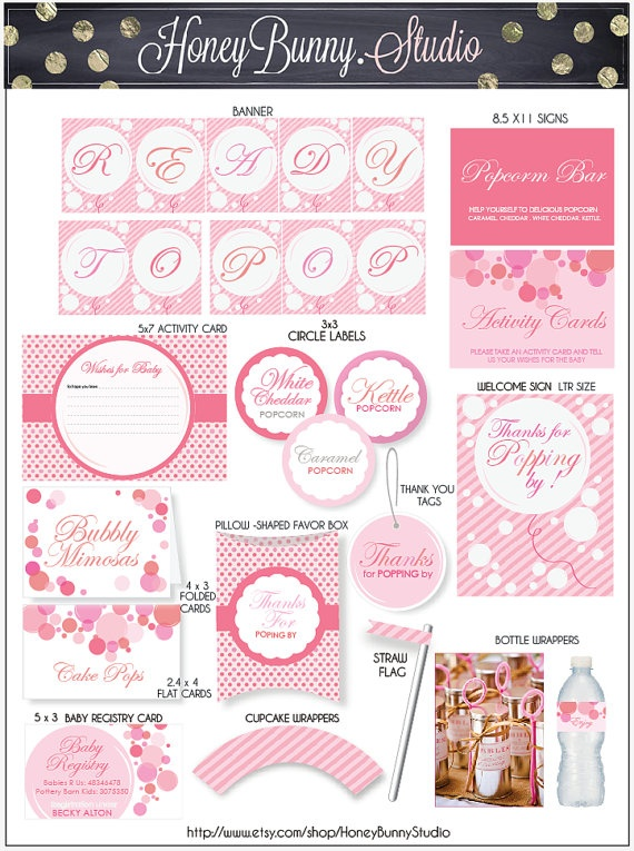 baby shower ready to pop printable party decorations honeybunny st
