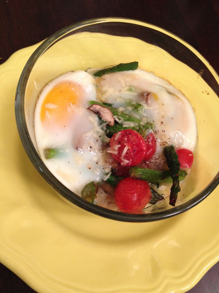 Baked Eggs 2 eggs Asparagus Kale Mushrooms Cherry tomatoes Parmesan ...