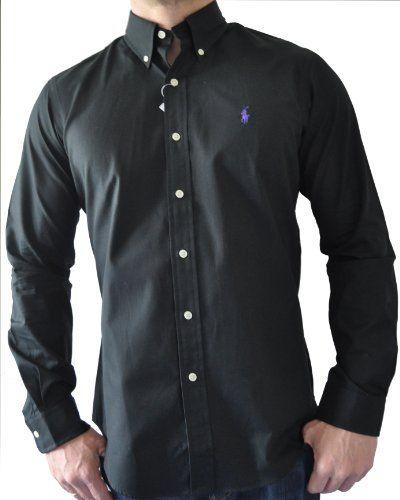 Ralph Lauren Mens Dress Shirt Ribbed Button Down Collar Black + Purple ...