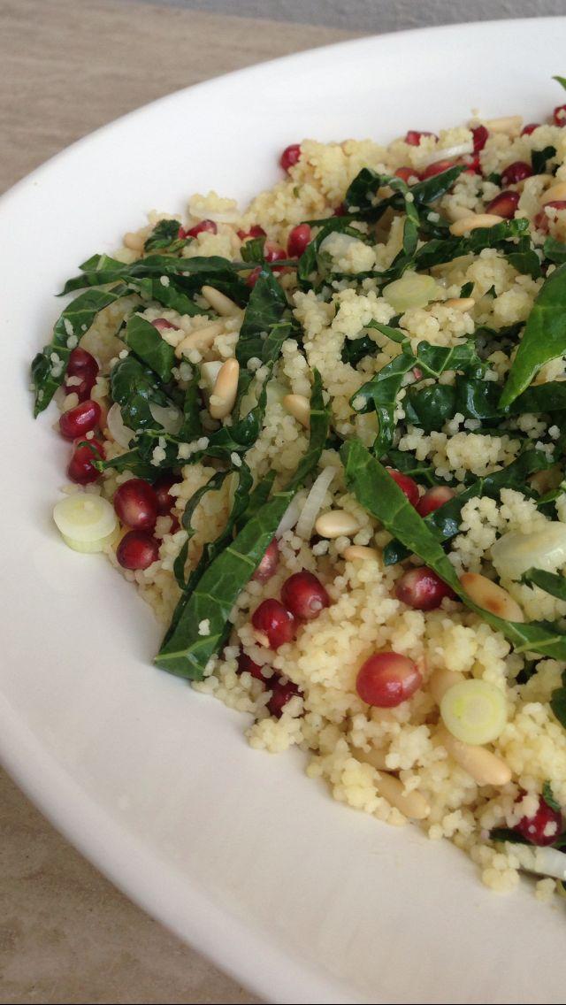 Pomegranate, kale couscous http://#salad w mint dressing recipe ...