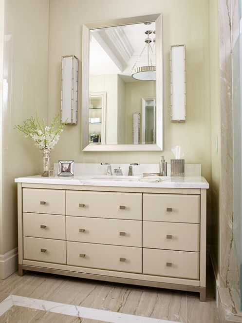 Dressers as Bathroom Vanities--contemporary style dresser still looks great!