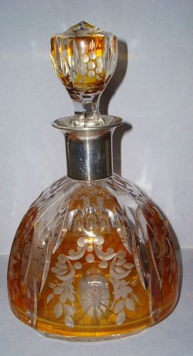 Antique 835 Silver Cut to Clear Moser Amber Czech Bohemian Glass Decanter