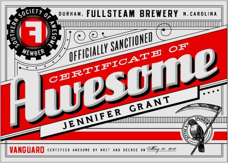 certificate of AWESOME