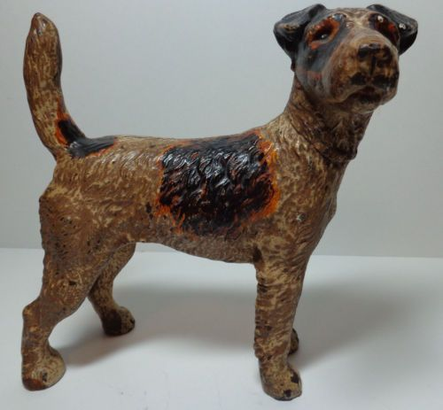 Antique hubley wire fox terrier dog cast iron doorstop 279 c 1930s - Cast iron dog doorstop ...