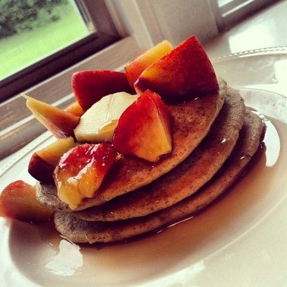 Whole Wheat Pancakes with Flax Seed and peaches!