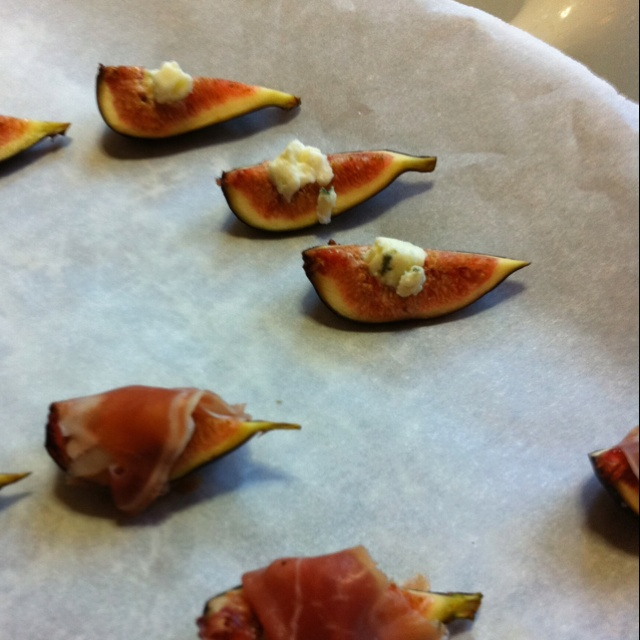 Figs stuffed with gorgonzola and wrapped with prosciutto
